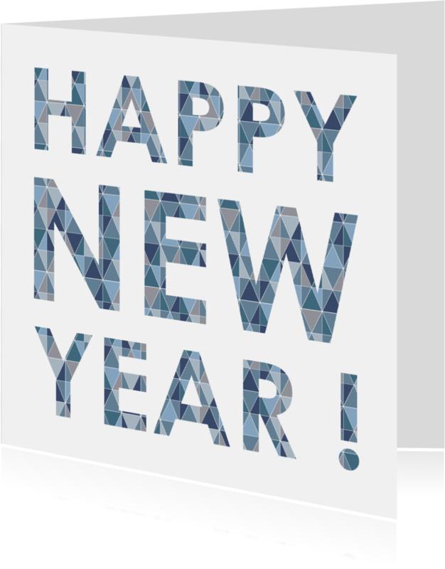 Nieuwjaarskaarten - Happy New Year Geometrisch Blauw