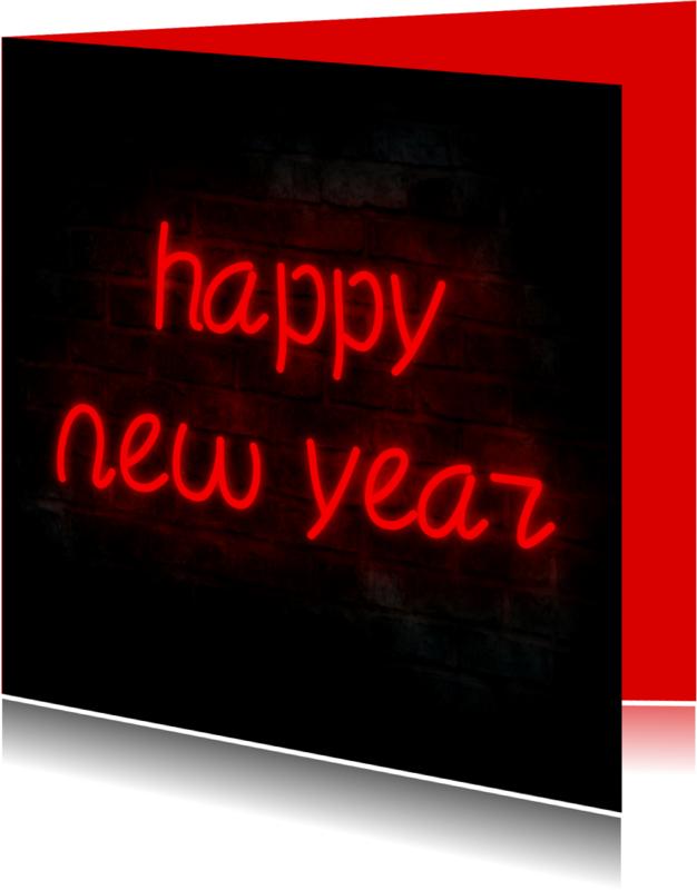 Kerstkaarten - Happy New Year neon sign kaart