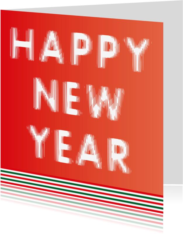 Nieuwjaarskaarten - Happy New Year rood en groen