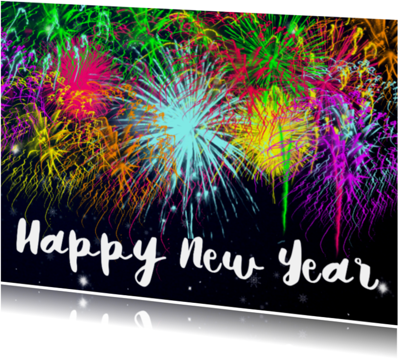 Nieuwjaarskaarten - Happy New Year vuurwerk - DH