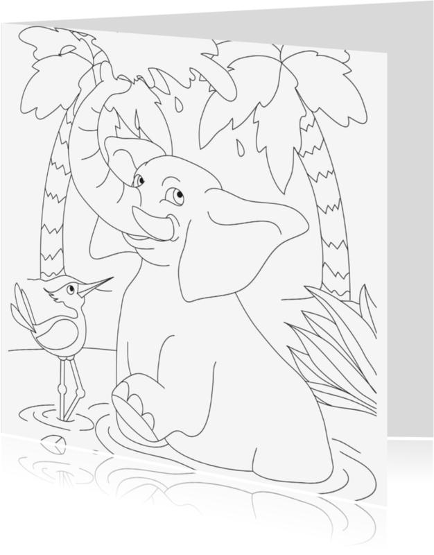 Kleurplaat kaarten - happy olifant