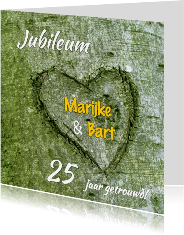 Jubileumkaarten - Hart in boom - 25 jaar getrouwd - OT