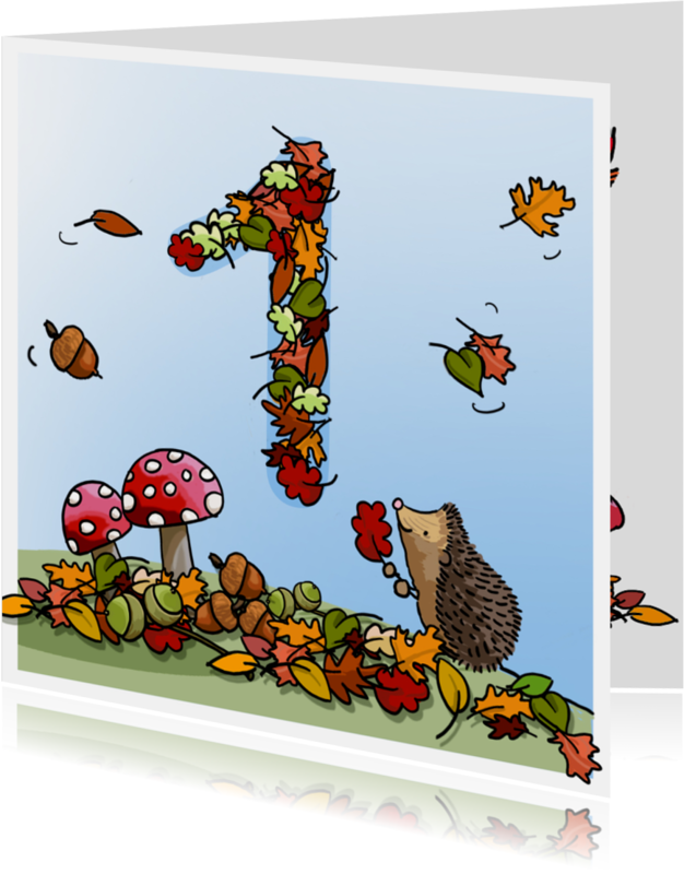 Verjaardagskaarten - Herfst verjaardag 1 Anet Illustraties