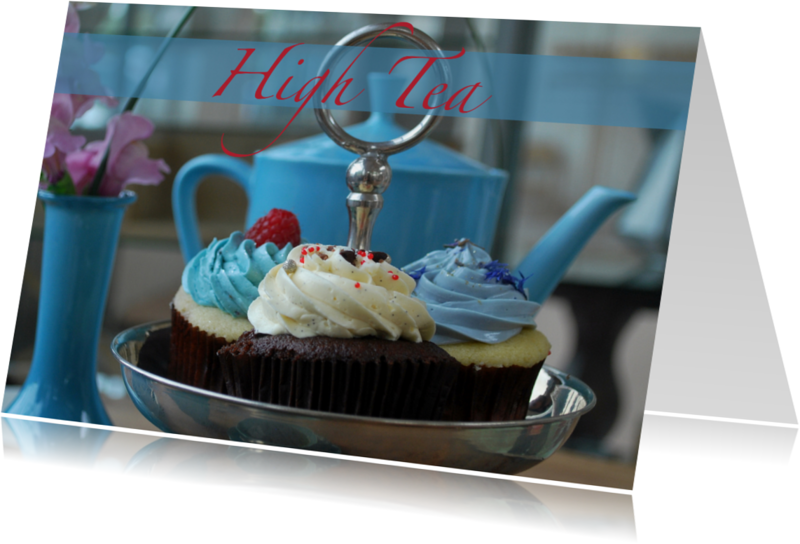 Uitnodigingen - High tea blauw