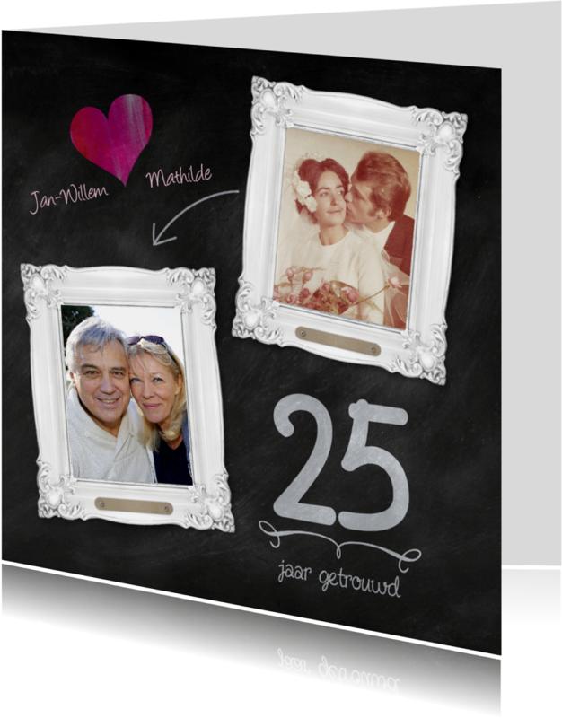 Jubileumkaarten - Hippe 25 jaar huwelijk kaart