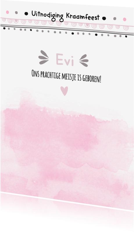 Uitnodigingen - Hippe kraamfeest uitnodiging Evi