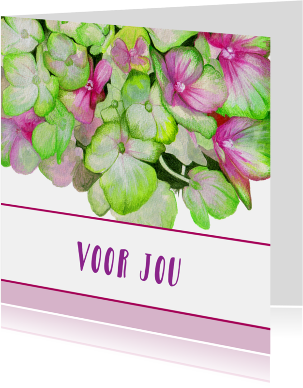 Vriendschap kaarten - Hortensia - Voor Jou - Zomaar - Bedankt