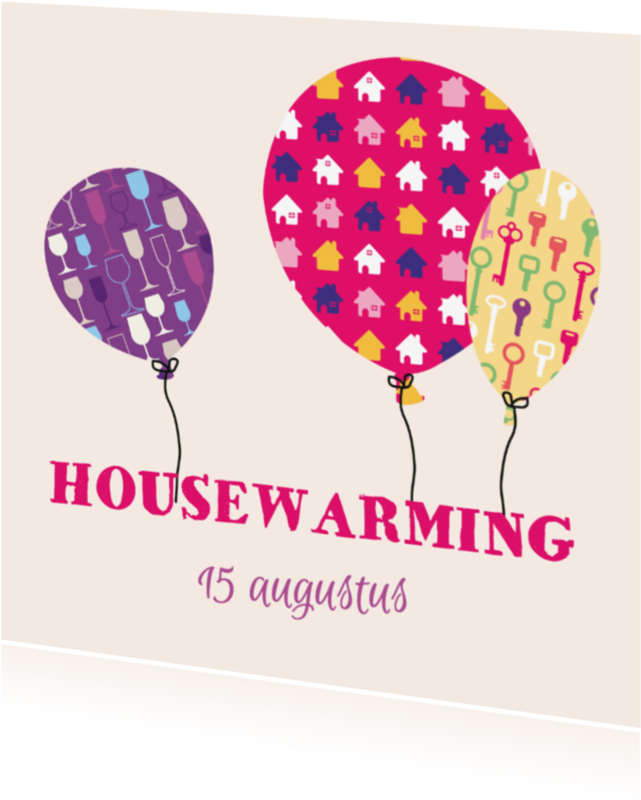 Uitnodigingen - Housewarming ballonnen M