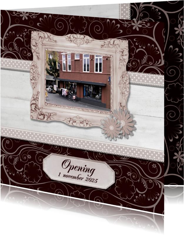 Uitnodigingen - Hout met label Opening - BK