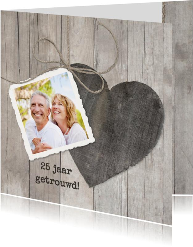 Uitnodigingen - Houten Hart 25 jaar getrouwd