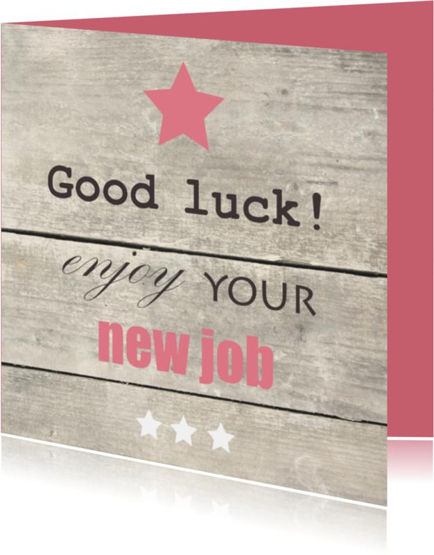 Felicitatiekaarten - Houtprint met tekst, nieuwe baan