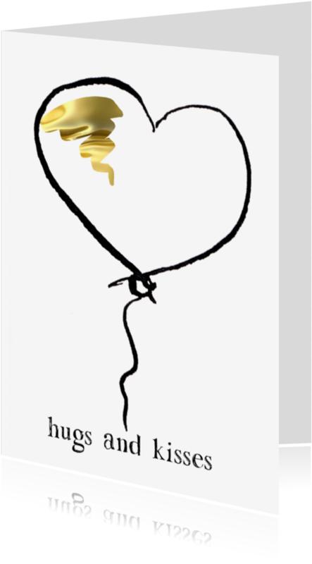 Liefde kaarten - hugs and kisses hartjes ballon