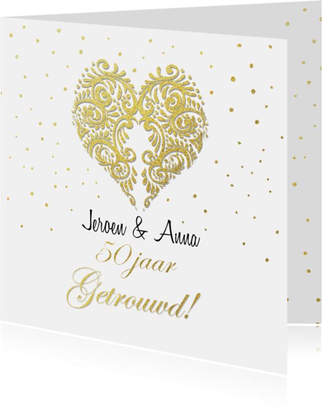 Jubileumkaarten - Huwelijksjubileum hart goud