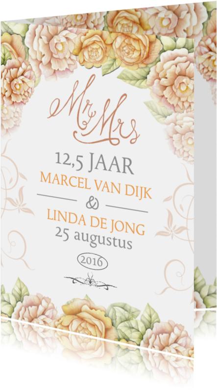 Jubileumkaarten - Huwelijksjubileum rozen klasiek