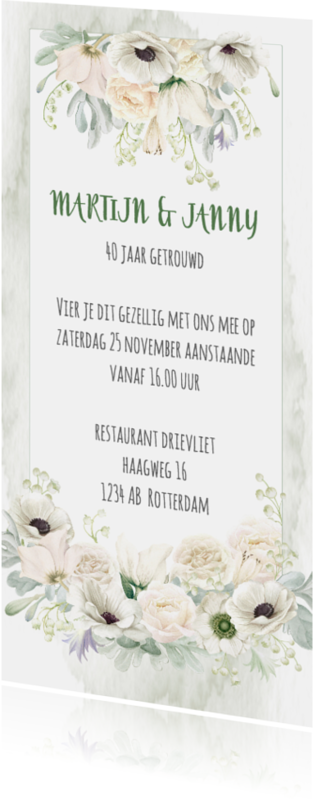 Uitnodigingen - Huwelijksjubileum witte rozen-anemonen