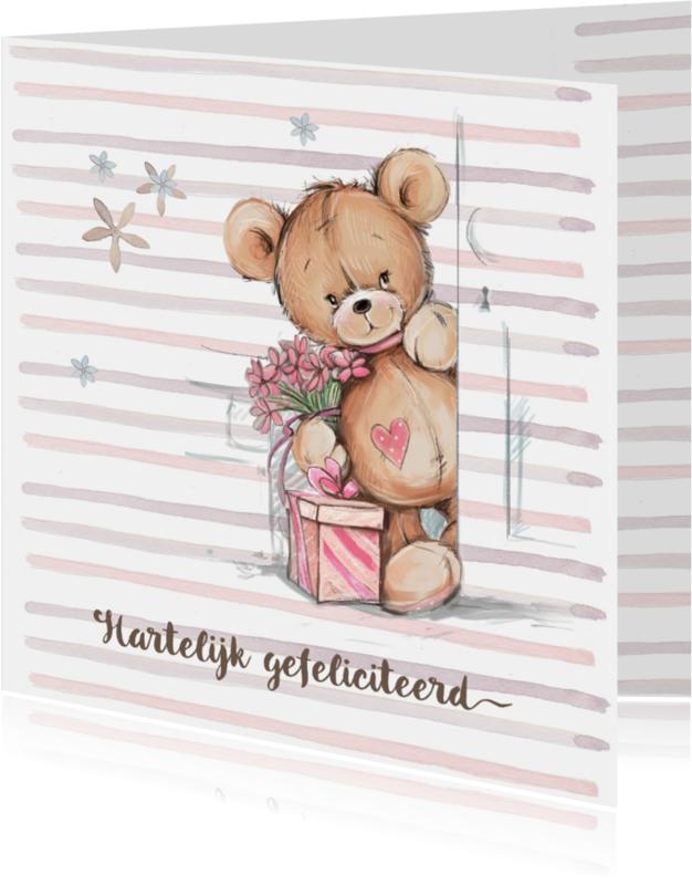 Verjaardagskaarten - Jarig beer met kado&bloemen