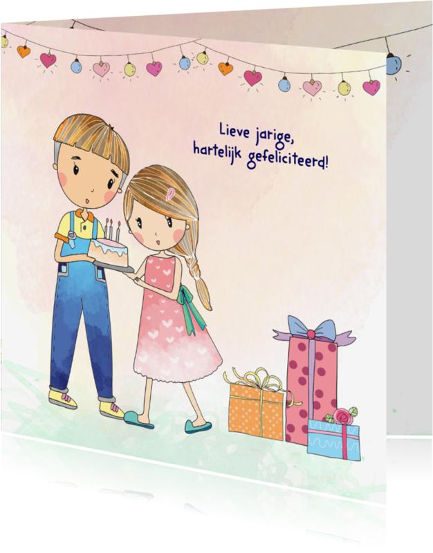 Verjaardagskaarten - Jarigkaart taart-cadeaus