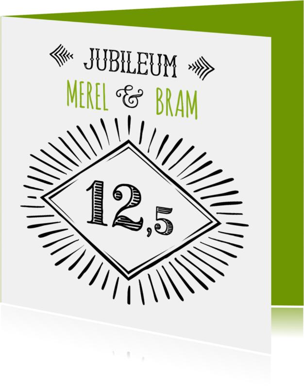 Jubileumkaarten - Jubileum 12,5 handlettering OT