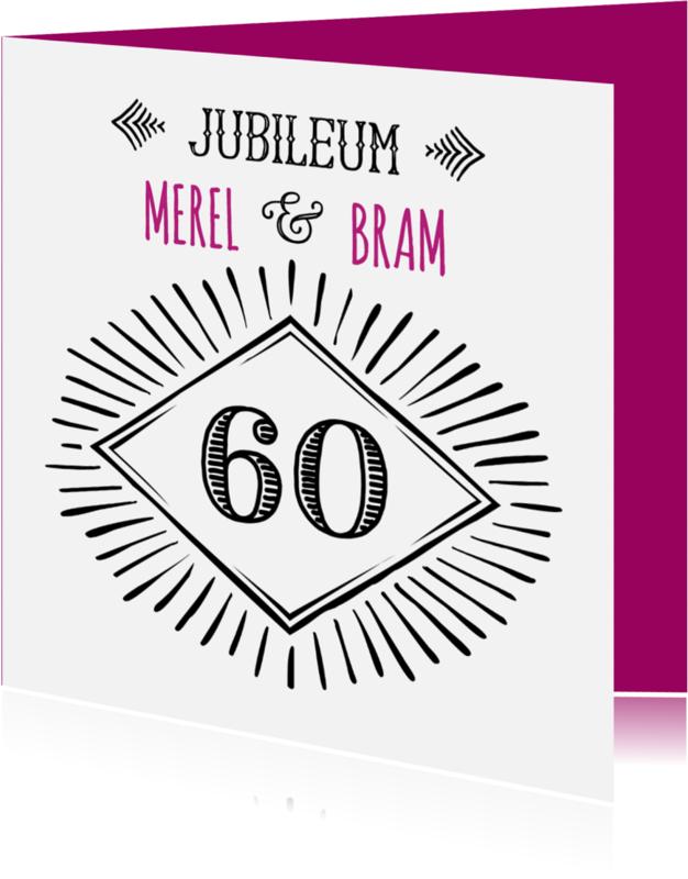 Jubileumkaarten - Jubileum 60 handlettering OT