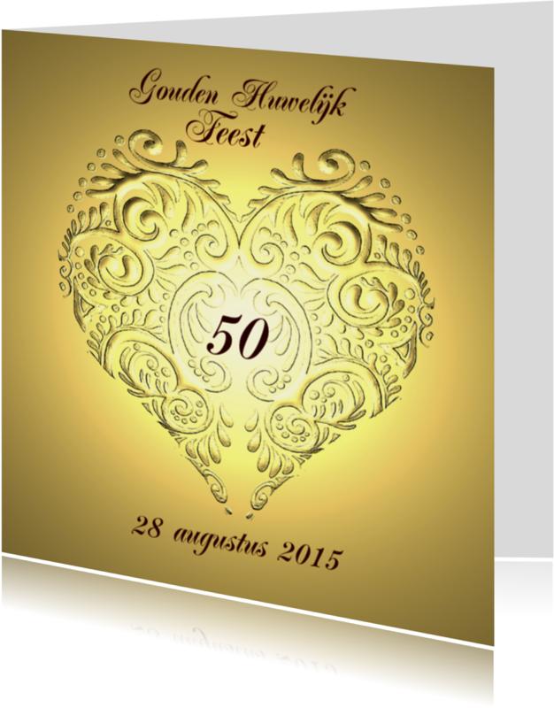 Uitnodigingen - jubileum goud en hart
