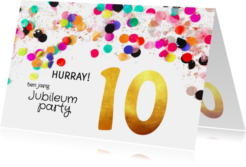 Uitnodigingen - Jubileum uitnodiging 10 jaar goud