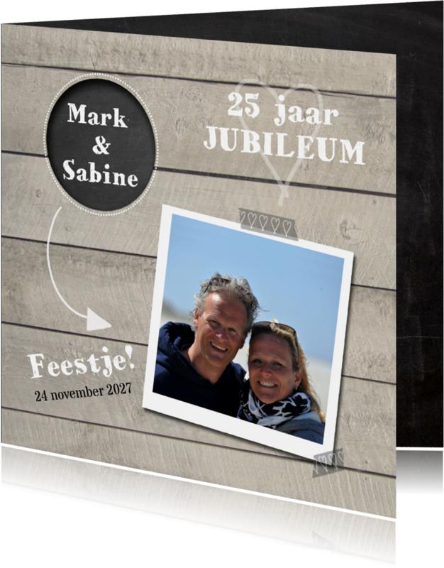 Uitnodigingen - Jubileumkaart hout met cirkel