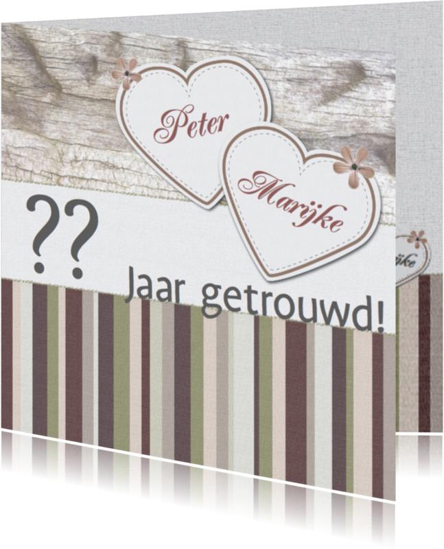 Jubileumkaarten - Jubileumkaart met hartjes Earth colors