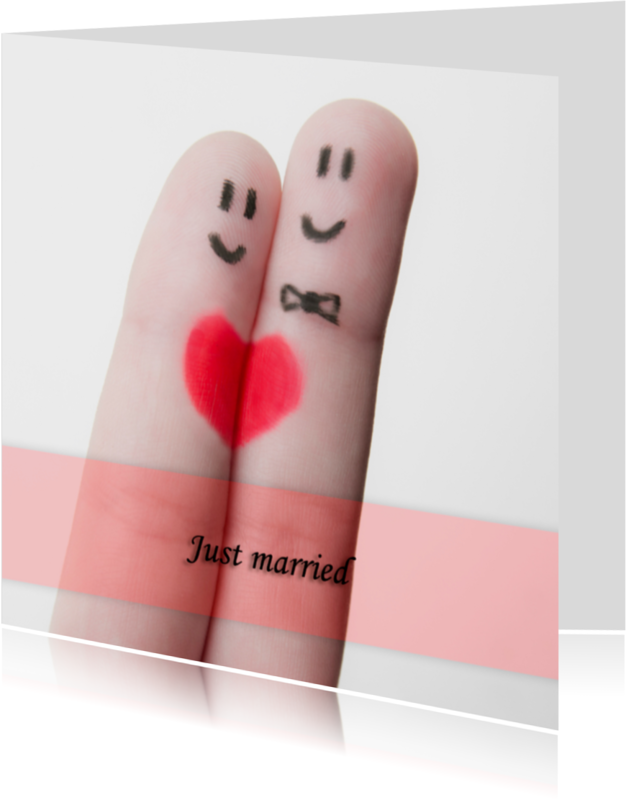 Trouwkaarten - Just married fingers grappig