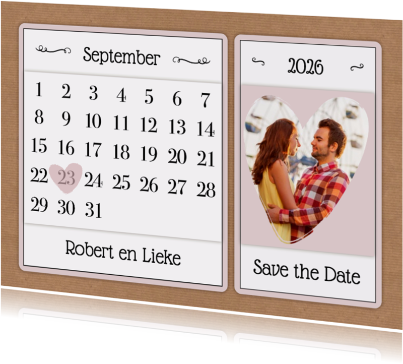 Trouwkaarten - Kalender Save the Date - BK
