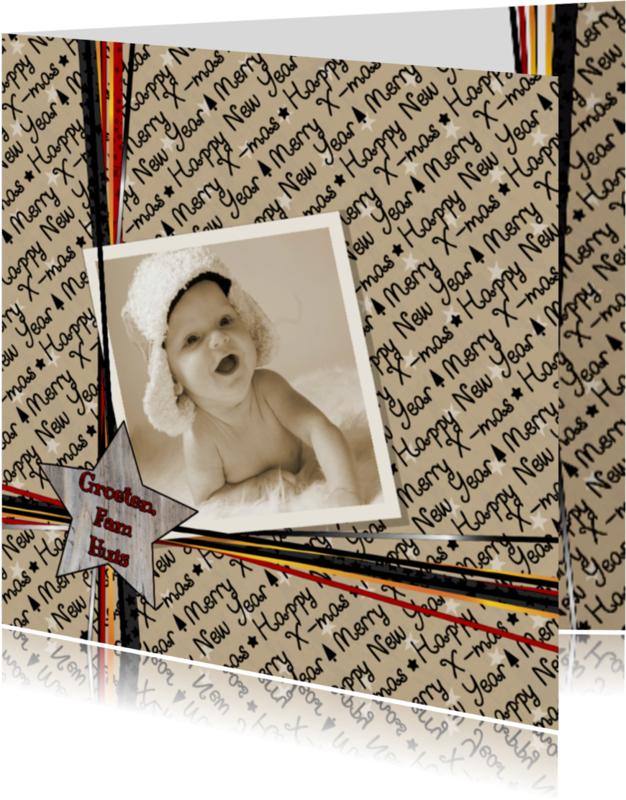 Kerstkaarten - Kerst cadeau foto lintje V-HB