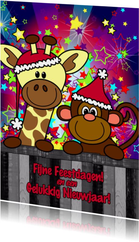 Kerstkaarten - Kerst giraffe en aap ster S-HB