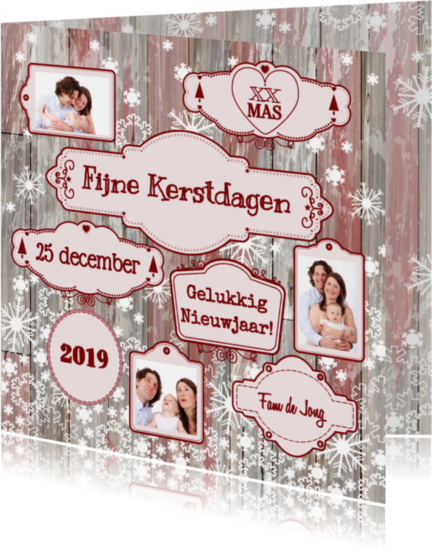 Kerstkaarten - Kerst labels sneeuw V-HB