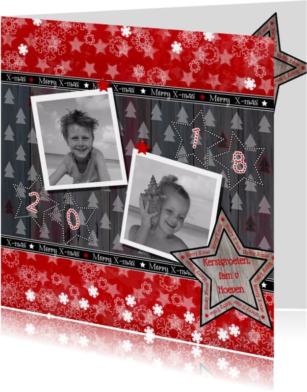 Kerstkaarten - KERST rood 2 foto's 4knt