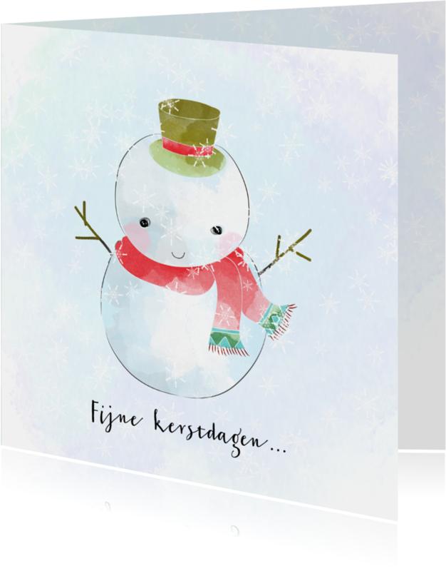 Kerstkaarten - kerst Sneeuwpop pastel