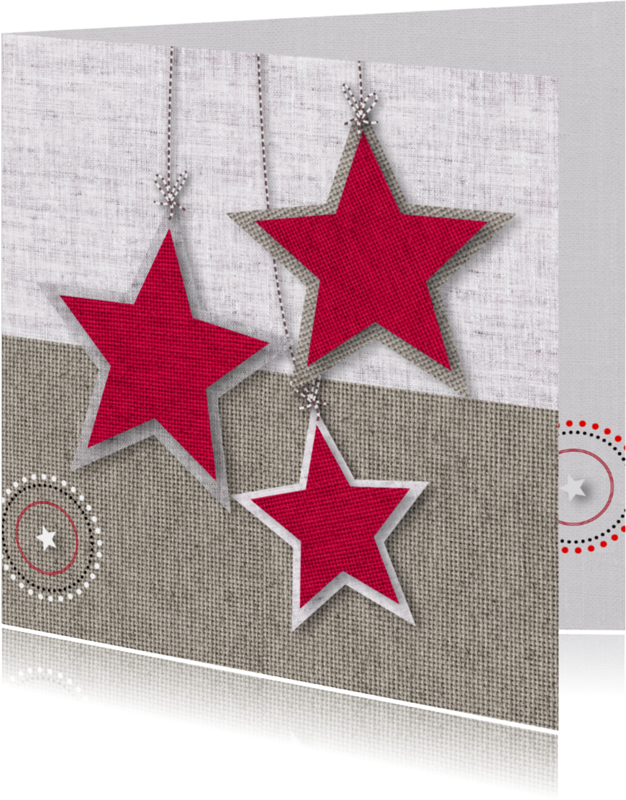 Kerstkaarten - Kerst sterren stoffen rood