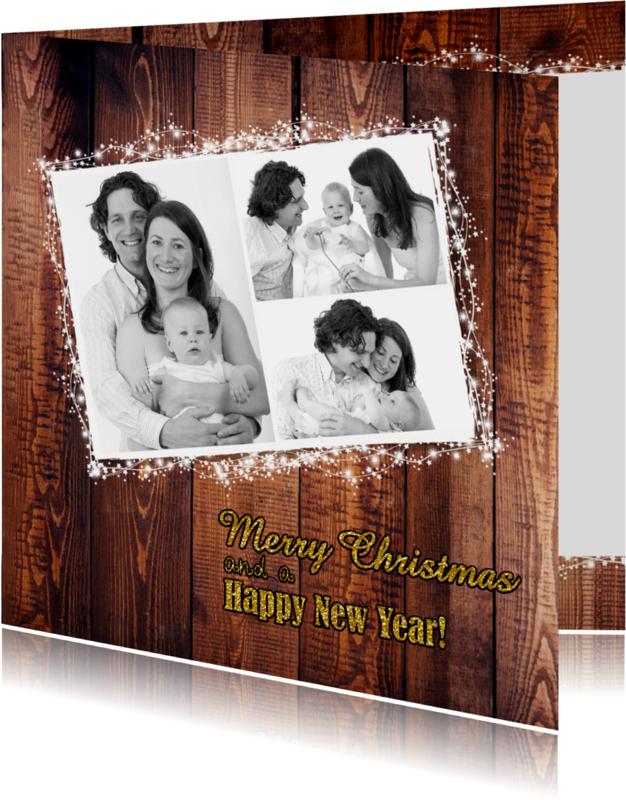 Kerstkaarten - Kerst stijlvolle fotokaart goud