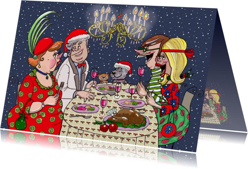 Kerstkaarten - Kerstdiner kroonluchter