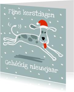 Kerstkaarten - Kersthond met goede wensen