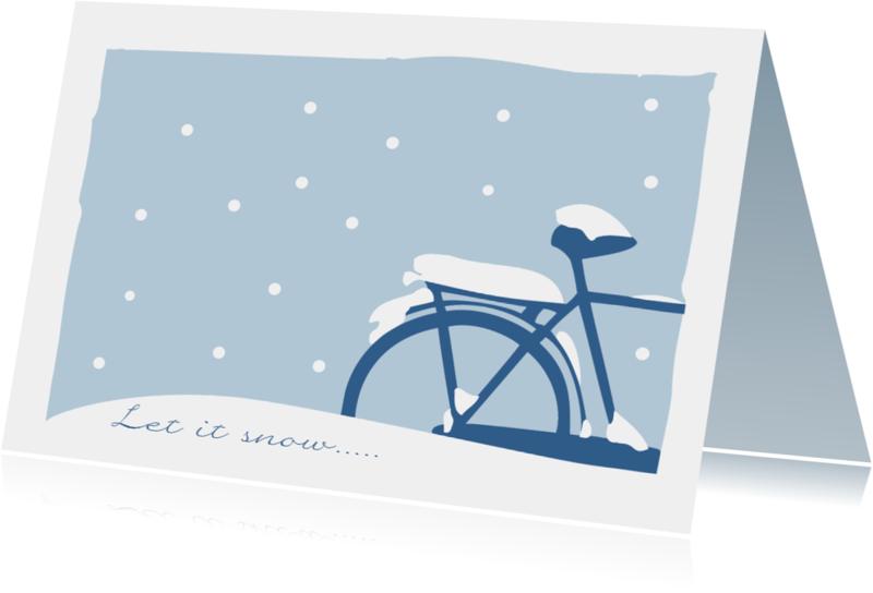 Kerstkaarten - Kerstkaart fiets in de sneeuw