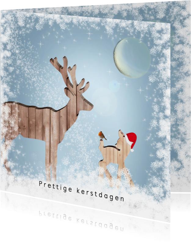 Kerstkaarten - Kerstkaart houten hert