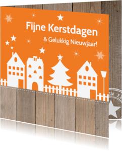 Kerstkaarten - Kerstkaart huisjes oranje hout - LB