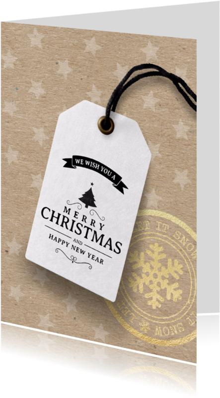 Kerstkaarten - Kerstkaart label kraftpapier