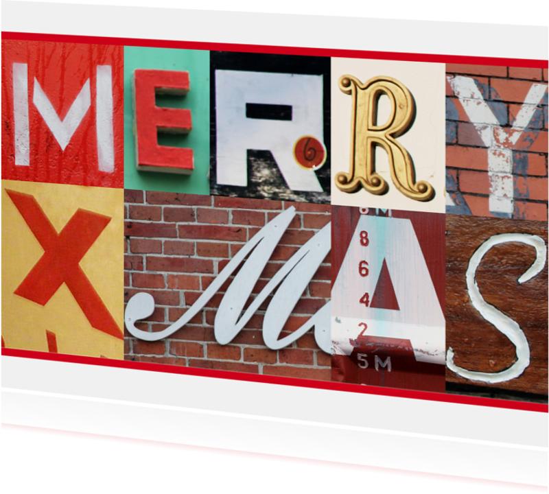 Kerstkaarten - Kerstkaart Merry Xmas letters