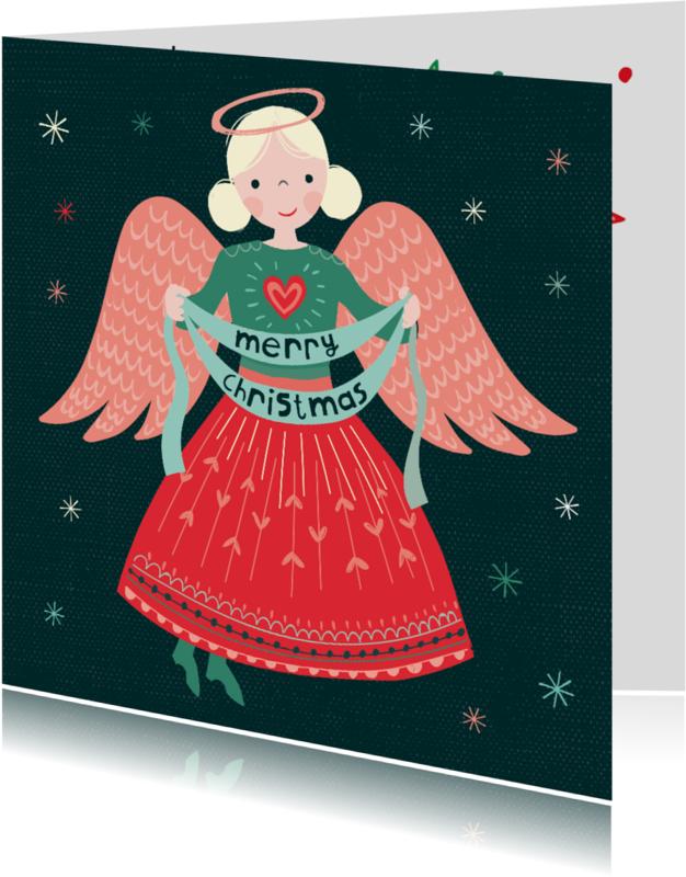 Kerstkaarten - Kerstkaart met een engel die banner vasthoudt