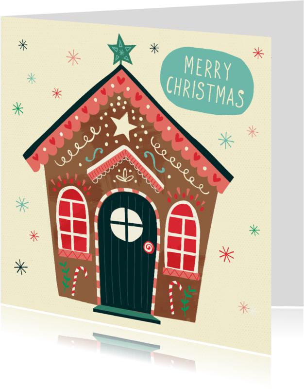 Kerstkaarten - Kerstkaart met een peperkoekhuisje / gingerbread house