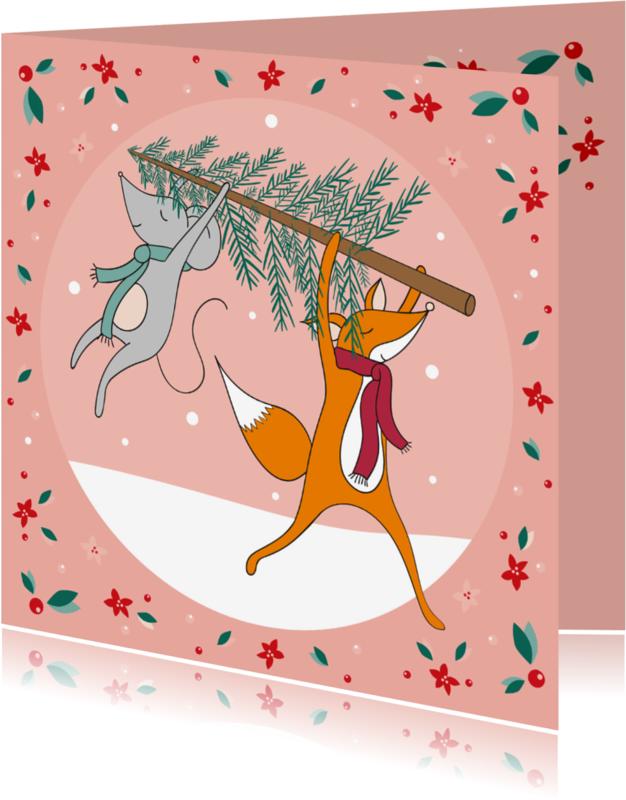 Kerstkaarten - Kerstkaart vos en muis