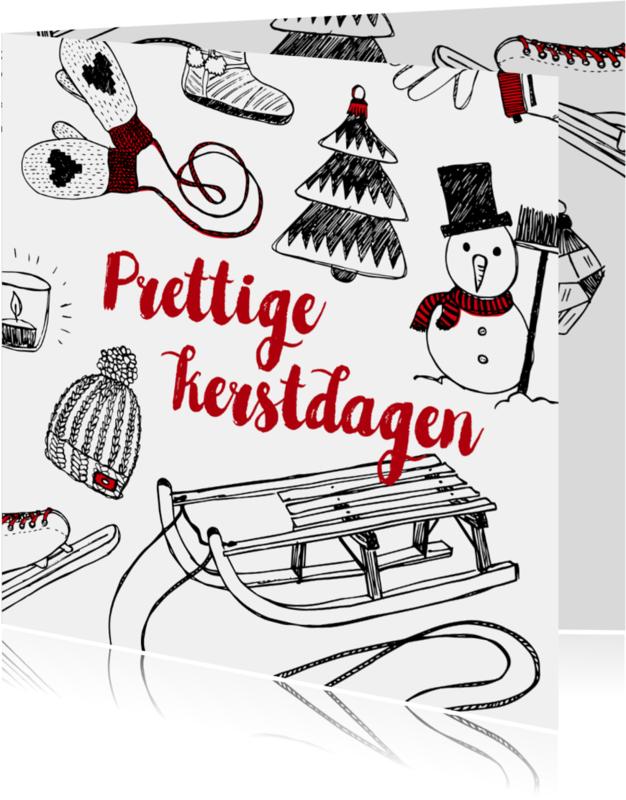 Kerstkaarten - Kerstkaart winter tekeningen