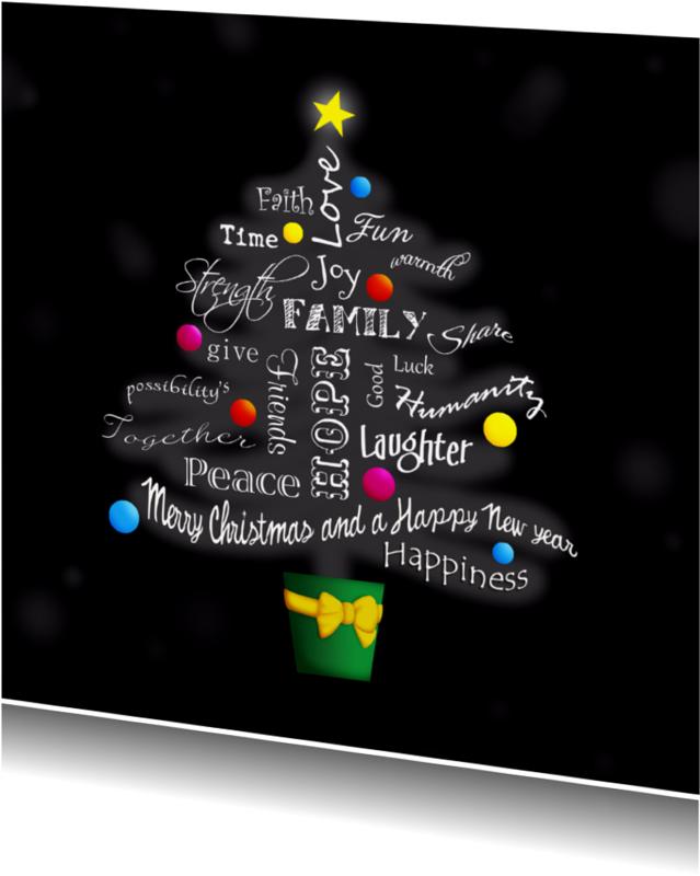 Kerstkaarten - Kerstkaart woorden kerstboom