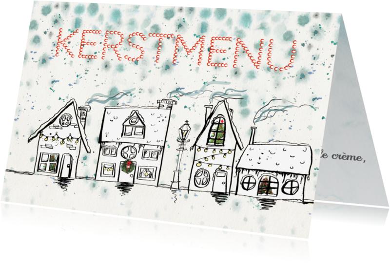 Kerstkaarten - Kerstmenu kaart huisjes sneeuw