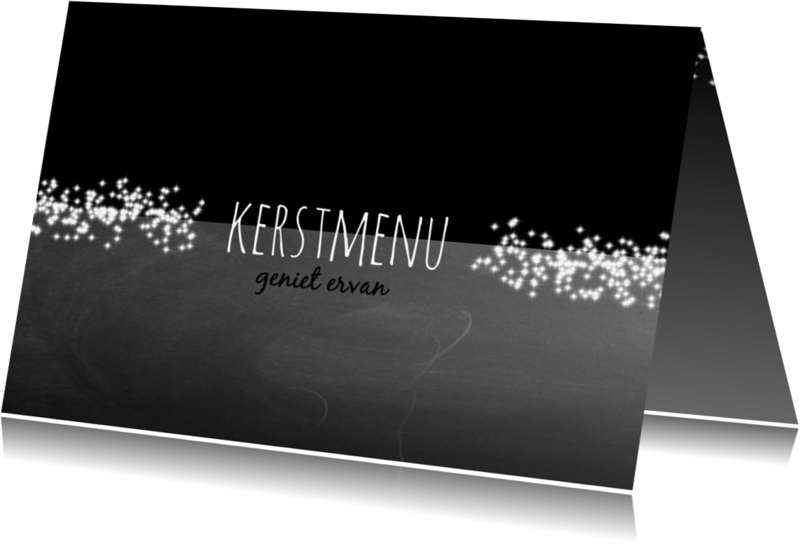 Menukaarten - Kerstmenu zwartwit sterretjes-IP